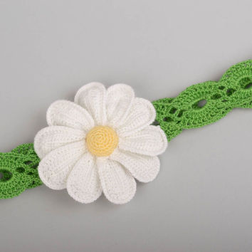 Handmade openwork headband for children stylish hair accessory with flower