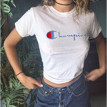 Champion Embroider Tee shirt top Grey t shirt