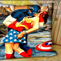 Captain American Kissing Wonder Women - Pillow Cover and Pillow Case.