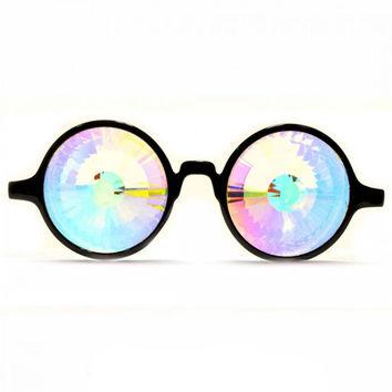 GloFX * Black Kaleidoscope Glasses- Rainbow Wormhole