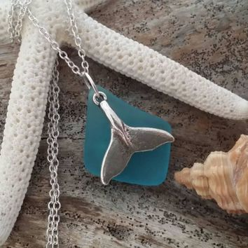 Handmade in Hawaii, Blue sea glass necklace,Whole tail  charm.925 sterling silver chain,gift box,Beach glass jewelry.sea glass jewelry