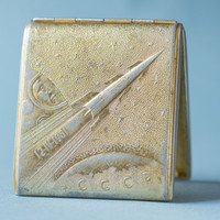 Cigarette case space cigarette holder Gagarin cosmonaut first human in space ornament on case shabby tin clean inside