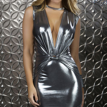 Sleeveless Metallic Mini Dress