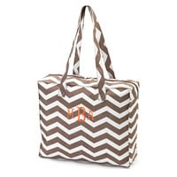 Monogrammed Tote Bag Taupe Chevron Zig Zag Zippered Solid