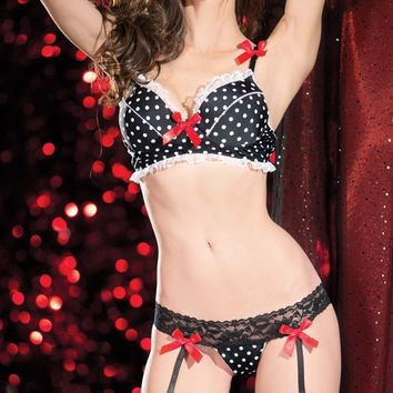 Pin-Up Doll Polka Dot Bra Set With Thong Multi Large