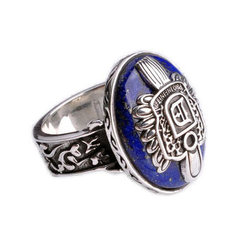 Natural Lapis Lazuli Stone Ring Thai Silver Material .925-Size 9