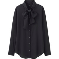 WOMEN RAYON BOW TIE LONG SLEEVE BLOUSE