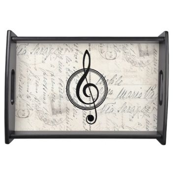 Vintage Music Clef Italian Postcard Tray Food Trays