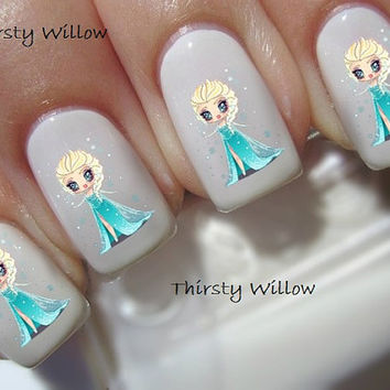Chibi Frozen Elsa Disney Chibi Waterslide Nail Decals Water Transfers