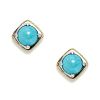 DeLatori Women's Pompeii Two-Tone & Turquoise Tilted Square Stud Earrings