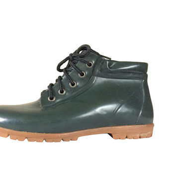 Vintage Land's End Women Rain Boot Size 9 Green Ankle Boot Lace Up Rain Boot Rubber Galoshes Women Rubber Boot Women Rainboot Wellies Shoe