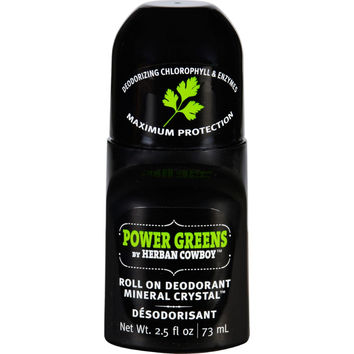 Herban Cowboy Deodorant  Roll On  Power Greens  2.5 Oz