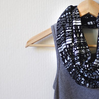 INFINITY SCARF - Screen Printed - Aztec Inspired White Pattern on Black