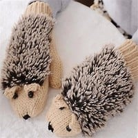 Womens Cute Hedgehog Winter Knitted Mitten Gloves