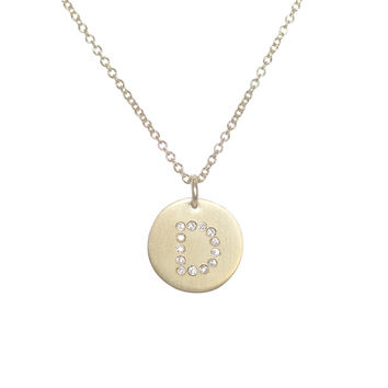 24k Gold Plated Diamond Initials Necklace-D
