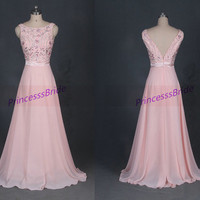 2014 long pearl pink chiffon prom dresses with sequins,cheap beaded gowns for evening party,chic women homecoming dress hot.