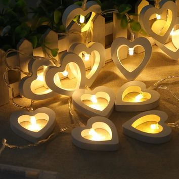 Christmas Decoration Lights Wooden Heart Outdoors Box [18777669652]