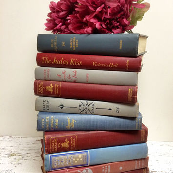 Vintage Books,Marsala Books ,Marsala Wedding, Glacier Grey Books, Photo Prop Books, Vintage Book Decor ,Books for Wedding, 2015 Wedding
