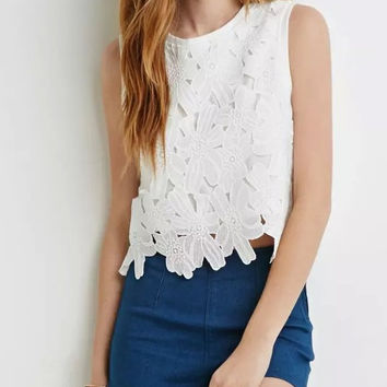 White Cutout Floral Lace Sleeveless Zipper Back Shirt