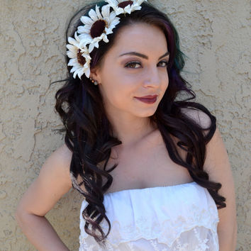 Sunflower Headband - Cream White Sunflowers - Flower Headband - Flower Crown - Hair Accessories - Hippie - Music Festivals - Raves