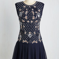 Mid-length Sleeveless Drop Waist Cabaret of Light Dress in Midnight