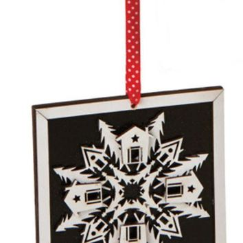 ONETOW 5' Alpine Chic Country Rustic Style Black and White Glittered Snowflake Framed Christmas Ornament