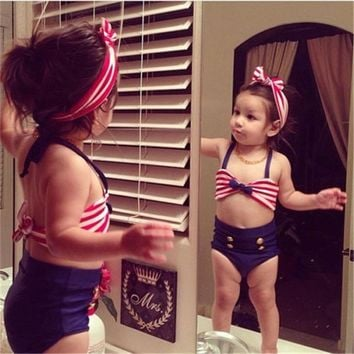 Two-piece Little Girls Stripe Swimsuit Babies Girl Halter Swimwear Beachwear Bathing Suit  Swimmers Bikini Costume