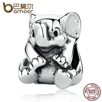 Authentic 925 Sterling Silver Lovely Lucky Elephant Pendant Baby Charms Beads & Jewelry Makings DIY Accessories PAS371