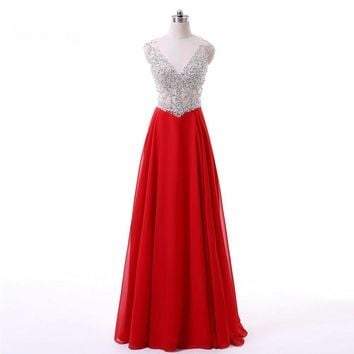 Sparkly Long Red Dresses V-neck robe Sequined Cap sleeve Beading Formal Evening Party Gowns