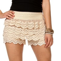 Sale-ivory Crochet Shorts