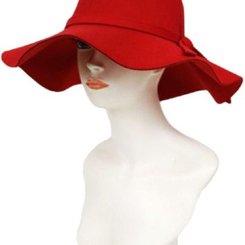 Felt Floppy Hat, Red