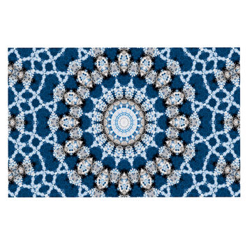 "Iris Lehnhardt ""Mandala II"" Blue Abstract Decorative Door Mat"