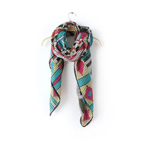 Geometric Pattern Knitted Scarf