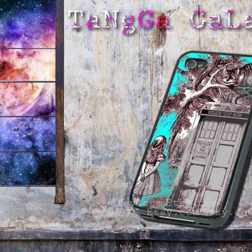 iphone case,Alice in Wonderland on Tardis Call Box,iphone 5 case,iphone 4/4s case,samsung s3,s4 case,accesories,cell phone,hard plastic.