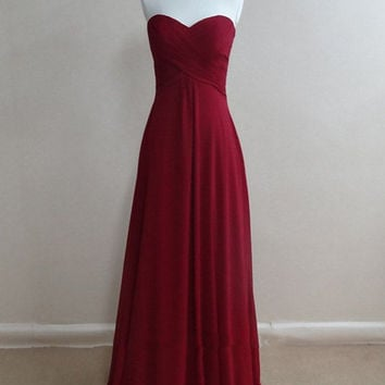 Simple Chiffon Burgundy A-Line Prom Dresses