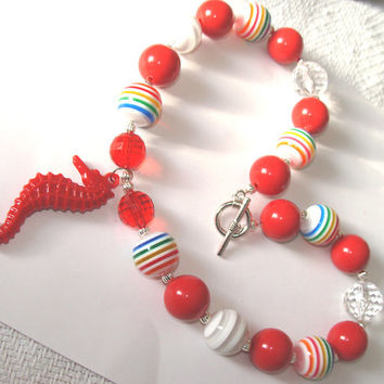 Red Seahorse Summer Chunky Beaded Necklace Toddler to Women Fun Fashion Jewelry