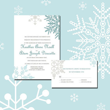 Instant Download-Snowflake Winter Wedding Bridal Shower DIY Printable Template Invitation RSVP Thank You Card Bridal Shower Elegant Baby