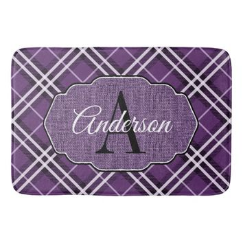 Purple, Black and White Plaid Faux Burlap Monogram Bath Mat