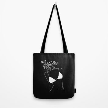 Flowers In Her Head Black Tote Bag by aljahorvat
