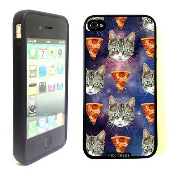 Hipster Cat Galaxy Pizza iPhone 4 Case - For iPhone 4/4S/4G - Designer TPU Case Verizon AT&T Sprint