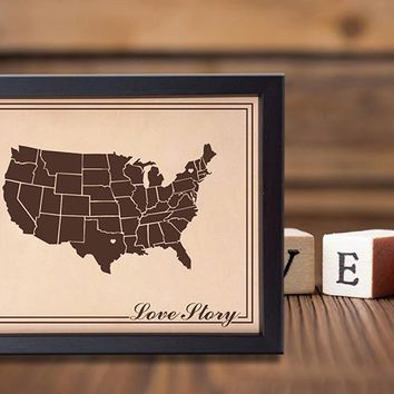 Lik14 Leather Engraved Wedding Third Anniversary Gift Personalized Anniversary Gift Love Story united states map