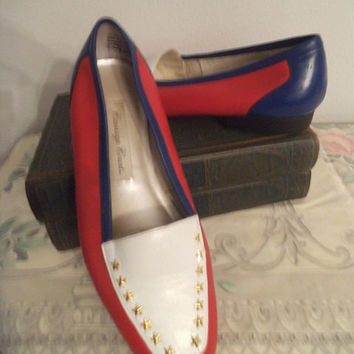 Vintage Color block Red White and Blue Flats ~ Gold Star Brads ~ Leather Upper slip ons ~ Carriage Court ~ Size 6