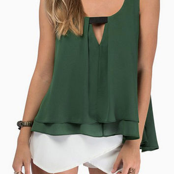 Green Strap Sleeveless V Neck Pleated Tank Top