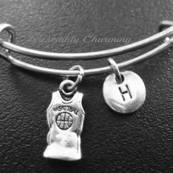 Basketball Jersey, shirt Stainless Steel Expandable Bangle, monogram personalized item No.788