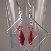 ERBFL01 Earrings made with Pink Paper Beads and Swarovski Crystal Beads