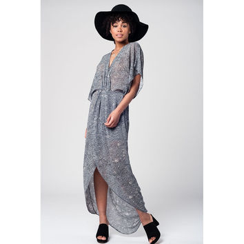 Long grey floral kimono dress with cut out front