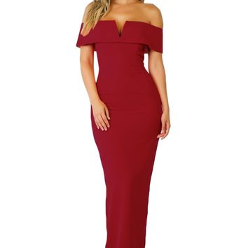 Red Social Event Red Carpet Off-shoulder Party Evening Dress
