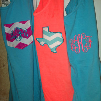 Comfort colors tank swimsuit coverup with custom pocket, monogrammed initials or state outline