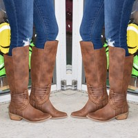 Brown Lace Up Tall Boots