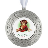 Pewter Round Christmas Ornament/Baby's 1st Round Pewter Christmas Ornament